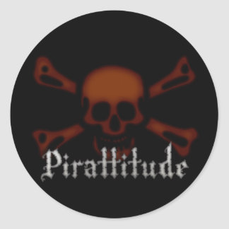 Pirattitude Blood Jolly Roger Round Sticker