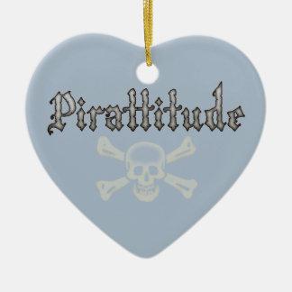 Pirattitude Bone Jolly Roger Ceramic Heart Decoration