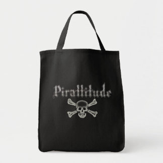 Pirattitude Bone Jolly Roger Grocery Tote Bag