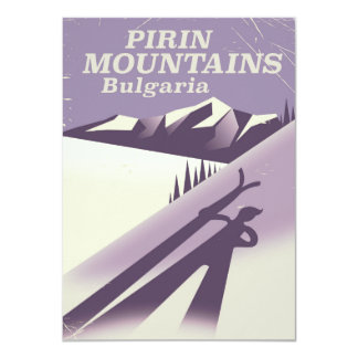 Pirin Mountains Bulgaria ski poster Card