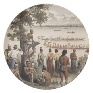 Pirogue races on the Bassac River, detail from 'At Plate