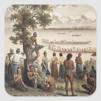 Pirogue races on the Bassac River, detail from 'At Square Sticker