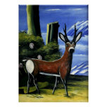 Pirosmani - Roe Deer with a Landscape Background Poster