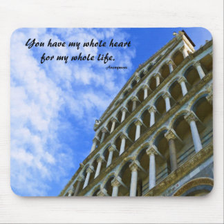 Pisa Cathedral with Love Quote Mouse Pad