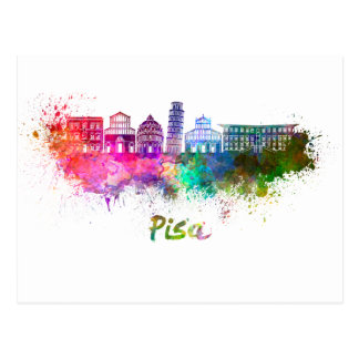 Pisa skyline in watercolor postcard