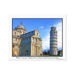 Pisa The Leaning Tower with Love Quote Gallery Wrap Canvas