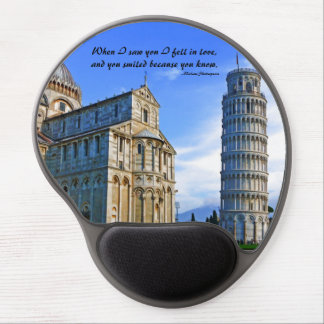 Pisa The Leaning Tower with Love Quote Gel Mouse Pads