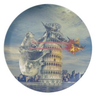 Pisa Tower Koala Bear Funny Plate
