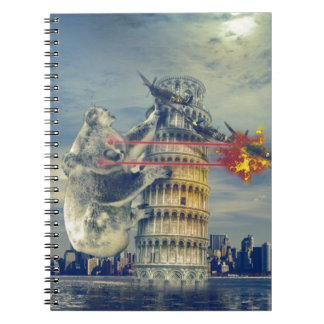 Pisa Tower Koala Bear Funny Spiral Notebooks