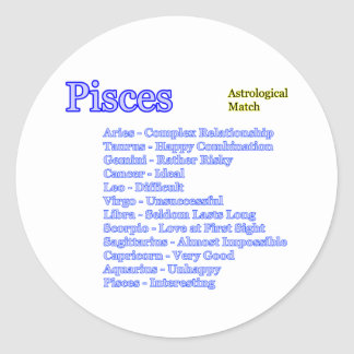 Pisces Astrological Match The MUSEUM Zazzle Gifts Round Sticker
