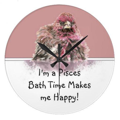 Pisces Bath Time Makes me Happy, Cute Bathing Bird Round Wall Clocks