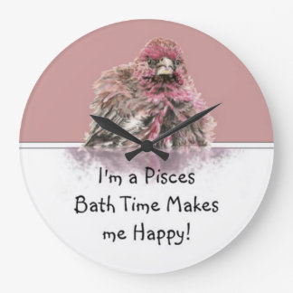 Pisces Bath Time Makes me Happy, Cute Bathing Bird Large Clock