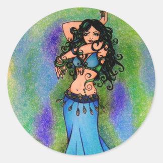 Pisces Belly Dancer Art Classic Round Sticker