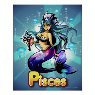 'Pisces' below anime mermaid Poster