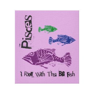 Pisces Big Fish Wrapped Canvas Art Print (Purple)
