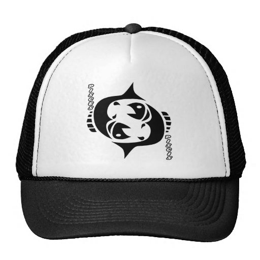 PISCES BLACK AND WHITE HOROSCOPES PRODUCTS MESH HATS