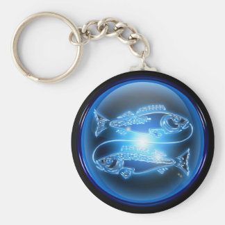 Pisces Blue Glossy Keychain