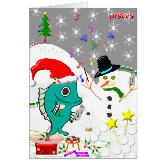 Pisces Christmas Card. Greeting Card