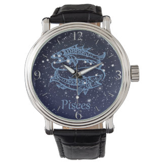 Pisces Constellation and Zodiac Sign with Stars Wristwatch
