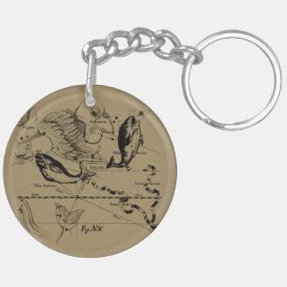 Pisces Constellation Hevelius 1690 Engraving Key Ring