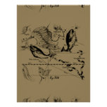 Pisces Constellation Hevelius 1690 on Taupe Poster