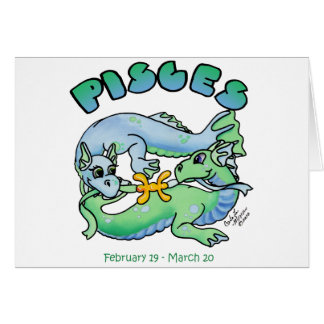 pisces cute zodiac baby dragon greeting card