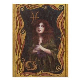 Pisces Decorative Figure Design Postcard