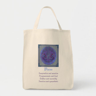 Pisces Fish Abstract Art Grocery Tote Bag