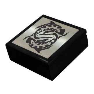 Pisces Fish Silhouette with Metallic Effect Gift Box