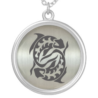 Pisces Fish Silhouette with Metallic Effect Round Pendant Necklace
