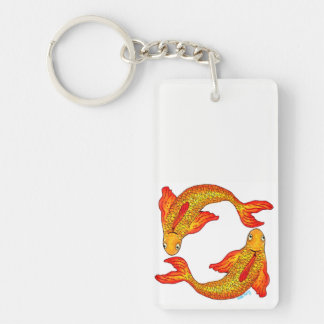 Pisces Fish Zodiac Art Double Sided Key Ring