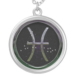 Pisces Glass Silver Plated Necklace