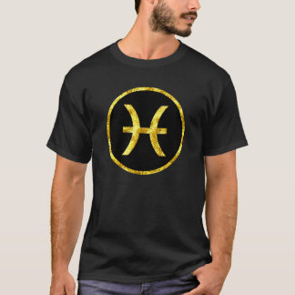 Pisces Gold Black Circle Symbol Shirt