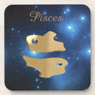 Pisces golden sign beverage coaster