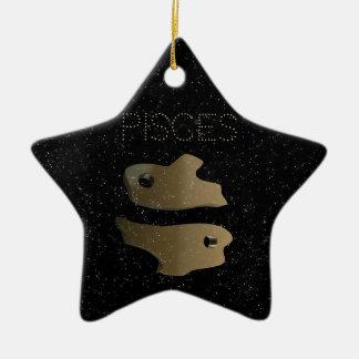 Pisces golden sign christmas ornament