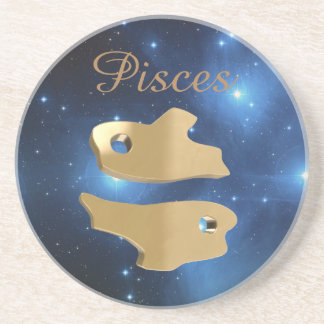 Pisces golden sign coaster