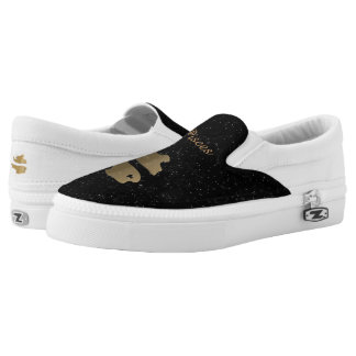 Pisces golden sign printed shoes