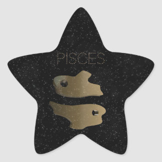 Pisces golden sign star sticker