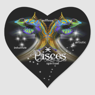 Pisces Heart Stickers