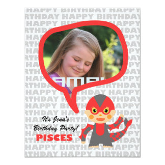 Pisces Kids Party Invitation with photo