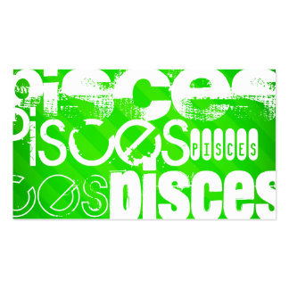 Pisces; Neon Green Stripes Double-Sided Standard Business Cards (Pack Of 100)