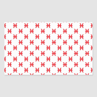 Pisces Pattern Red Rectangle Stickers