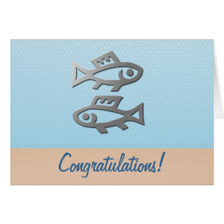 Pisces Silver Fish Birthday Congratulations Card