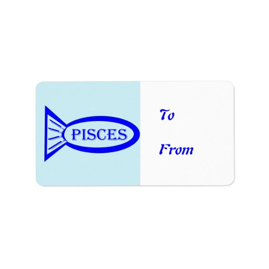 Pisces Star Sign Fish Present Labels