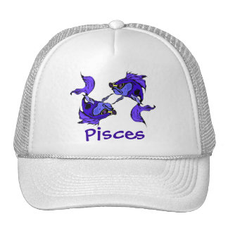 Pisces Trucker Hats Pisces Cool Fish in Sunglasses