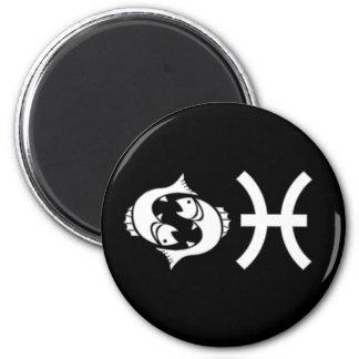 Pisces with Symbol 6 Cm Round Magnet