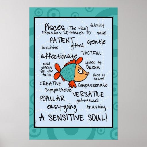 Pisces wordcloud poster