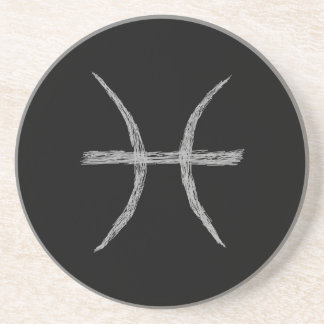 Pisces. Zodiac Astrology Sign. Black. Coaster