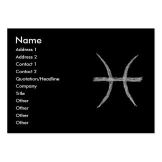 Pisces. Zodiac Astrology Sign. Black. Pack Of Chubby Business Cards