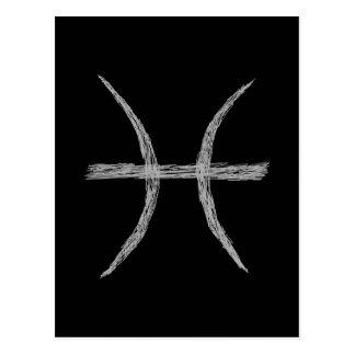 Pisces. Zodiac Astrology Sign. Black. Postcard